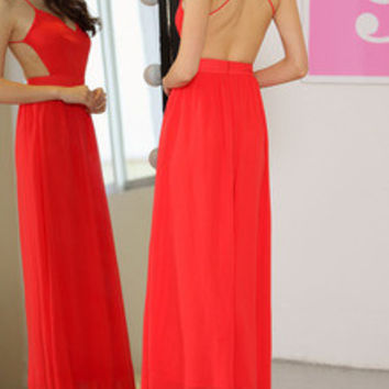 Red Spaghetti Strap Backless Elegent Maxi Dress