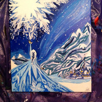 Disney Frozen Painting Acrylic Canvas 16x20 Queen Elsa Do you want to build a snowman? Let it go