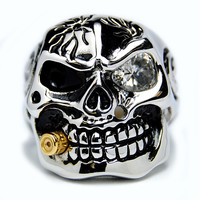 Oliveti Stainless Steel Cubic Zirconia Skull and Bullet Ring | Overstock.com Shopping - The Best Deals on Men's Rings
