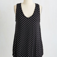 ModCloth Mid-length Sleeveless Endless Possibilities Tunic in Black Dots