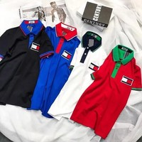 Tommy Hilfiger New Popular Women Men Leisure Lapel Short Sleeve T-Shirt Top(4-Color) I12901-1