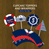 Nautical Cupcake toppers Party Circles with Free Cupcake Wrapper - Sailor Boy Ahoy Party Cupcake Toppers for Birthday or Baby Shower