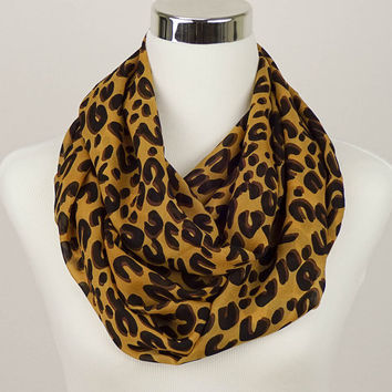 Leopard Infinity Scarf Animal Print Loop Scarf infinity scarves Brown scarf Leopard scarves Black scarf infinity cat scarf fashion scarf