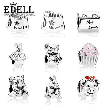 EDELL 100% Genuine 925 Sterling Silver Animal flower pig beads Clear CZ Charm bead Fit Bracelet DIY bangle Pendants Gift jewelry