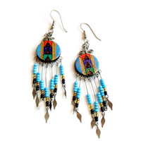 Vintage Aztec Dangle Earrings - Pierced French Hook - Southwestern Style - Western Boho Fashion - Festival - Painted Design - Blue Glass