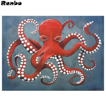 5D Diamond Painting Red and White Octopus Kit