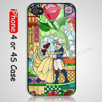 Beauty and The Beast Rose Custom iPhone 4 or 4S Case Cover