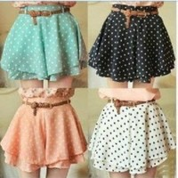 Fashion Dot Chiffon Mini skirt With belt | best shopping mall-fashion accessories and fashion clothing