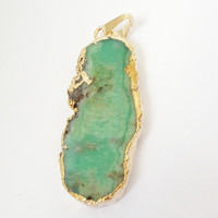 Chrysoprase Green Flat Gold Pendant, Long Smooth Surface Gold Dipped Chrysoprase Necklace Teardrop