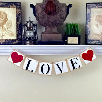 Valentines Day Decor, Love Banner, Wedding Banner, Bridal Shower Decor, Engagement Announcement