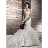 Wedding Dresses Ivory Tulle Sweetheart Neckline Sleeveless Floor-Length Trumpet / Mermaid - Star Bridal Apparel