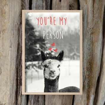 Alpaca Greeting Card - You're My Person