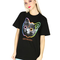 BLACK TRON CAT TEE