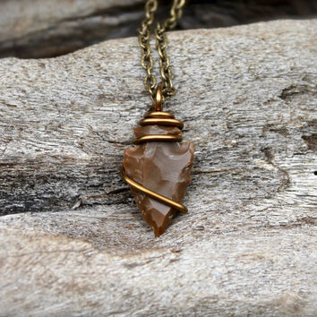 Petite Arrowhead Necklace - Wire Wrapped Stone Jewelry - Stone Arrowhead Jewelry - Bohemian Hippie Necklace - Boho Necklace - Gypsy Jewelry