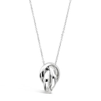 Interlocking Circles Necklace Pendant - Three Ring Necklace - Three Circle Necklace Pendant - Silver Swirl Pendant - Symbolic Jewelry Gift