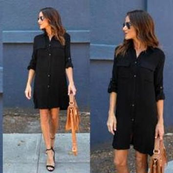 Casual Basic Style Button up Pockets Loose Long Sleeve Shirt Dress