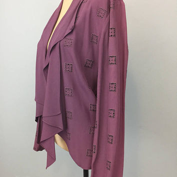 Cocktail Jacket Edgy Open Back Evening Jacket Sexy Short Jacket Formal Wear Plum Size 12 Womens Jackets Large 1980s Womens Vintage Clothing