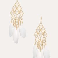 bebe Womens Geometric Feather Earrings Ivory Gold
