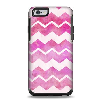 The Pink Water Color with White Chevron Apple iPhone 6 Plus Otterbox Symmetry Case Skin