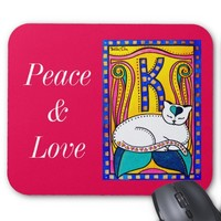 Whimsical White Kitty with Monogram Mouse Pad