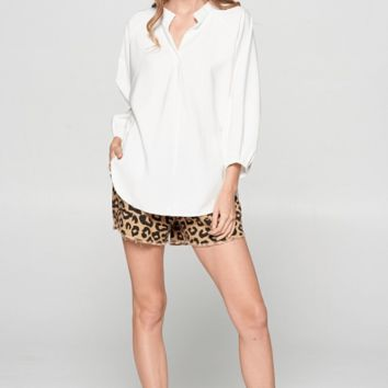 Women's High Low Dolman Sleeve Top with Back Opening + Drawstring