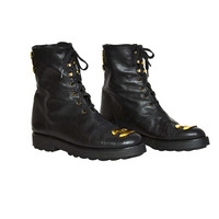 Chanel RARE Black Leather Vintage Combat Short Boots w/ Gold CC Plaque sz. 38.5