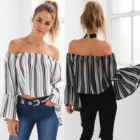 Fashion Off Shoulder Long Sleeve Women Stripe Shirt Pagoda Sleeve Crop Tops