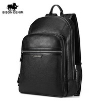 BISON DENIM 2017 Genuine Leather Backpack School Laptop Backpack Travel Backpack Male Fashion Backpack Schoolbag N2337