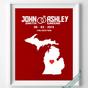 Anniversary, Print, Michigan, Wedding, Customized, Couple, Personalized, Gift, Map, Custom, Wall Art, Home Decor, Marriage, Love [NO 21]