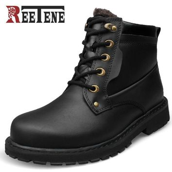 Reetene Brand High Quality Big Size Winter Shoes Lace Up Super Warm Leather Men Boots