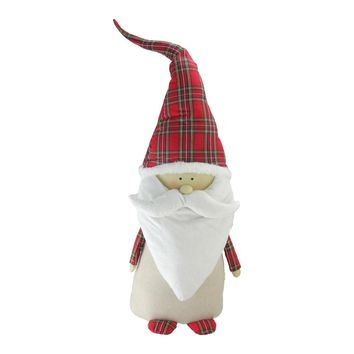"26"" Beige and Red Santa Claus Gnome with Plaid Hat Christmas Decoration"