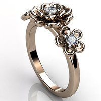 14k rose gold diamond unique floral three stone engagement ring, bridal ring, wedding ring ER-1057-3