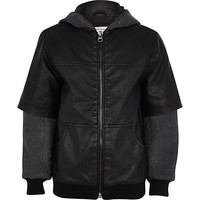 River Island Boys black leather-look half sleeve jacket