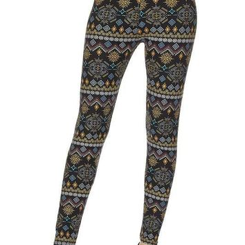 Curvy Colorful Aztec Print Leggings