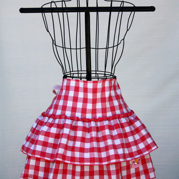 Pink Gingham Checked Tiered and Ruffled Apron - Upcycle - OOAK