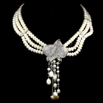 A Vintage Triple Strand Freshwater Baroque Pearl and Floral Wedding Necklace