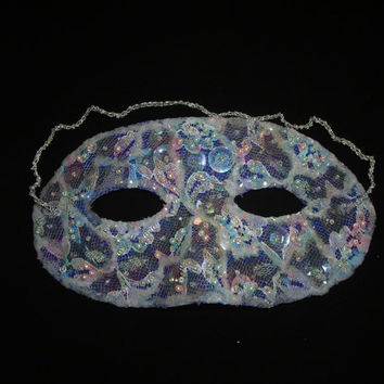 Hand Beaded Blue Vintage Mask with Lace, Sequins, Pearls, Seed Beads and Iridescent Glitter, Masquerade Mask, Oneof a Kind, Free US Shipping