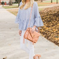 Catching Eyes Blue Striped Peplum Top
