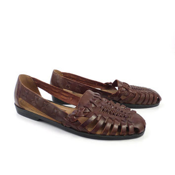 Brown Woven Sandals Vintage 1980s Predictions Leather Huaraches Women's size 7 1/2