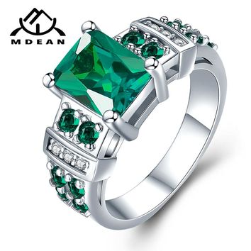 MDEAN White Gold Color Engagement Rings 13# for Women Wedding Green AAA Zircon Fashion Jewelry Bague Bijoux Size 5-12