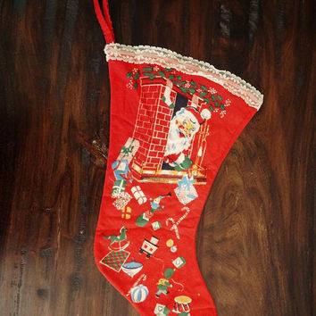 Vintage Flannel Christmas Stocking with Lace Trim