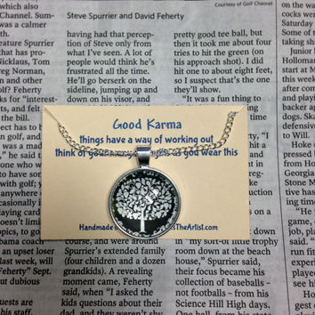Good Karma Necklace Good Karma Jewelry Quote Gift- things have a way of working out- Silver Tree Of Life Jewelry - Dandelion Wish Necklace
