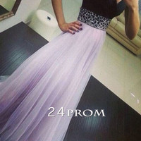 A-line Sweetheart Neck Tulle Light Purple Long Prom Dresses, Formal Dress