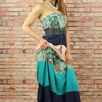 Mint & Navy Tribal Colorblock Chevron Maxi Dress