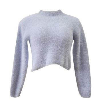 Women's Long-Sleeved High-Necked Cropped Plush Sweater