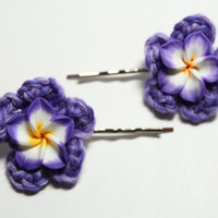Purple flower bobby pin. Plumeria hair accessory. Crochet flower hair pin.