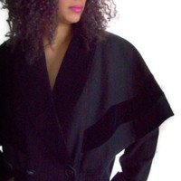 Vintage Donnybrook Ladies Black Wool Coat with Capelet and Velvet Trim Made in Russia 1980′s » Craftori