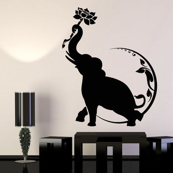 Vinyl Wall Decal Indian Elephant Lotus Flower Moon Buddhism Stickers Unique Gift (1171ig)
