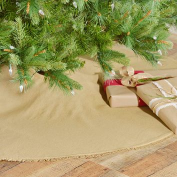 Festive Natural Burlap Tree Skirt