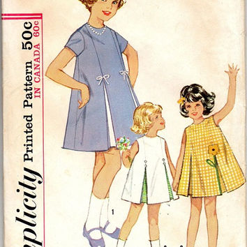 Simplicity 5432 Sewing Pattern Retro 60s Inverted Please School Girl Toddler Easter Party Dress Size 3